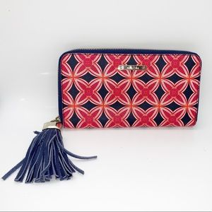 Stella & Dot Zip A Round Wallet Red & Navy